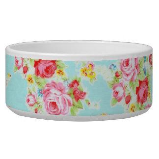 Vintage chic floral roses blue shabby rose flowers pet bowl