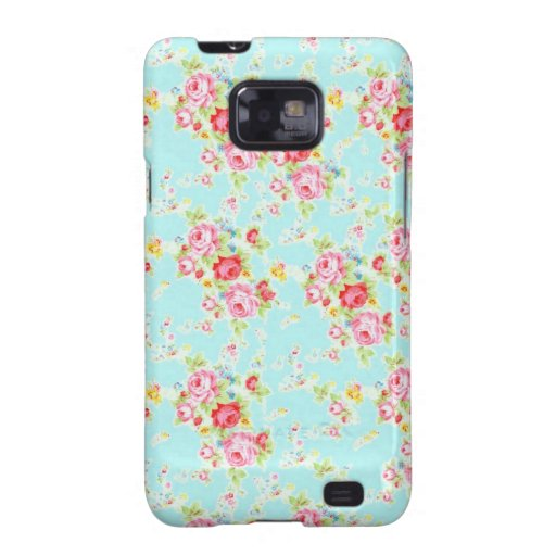Vintage chic floral roses blue shabby rose flowers samsung galaxy SII cases