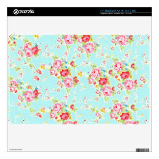 Vintage chic floral roses blue shabby rose flowers skin for the MacBook