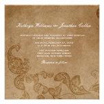 Vintage Chic Floral White Peacock Wedding Invite Invitations
