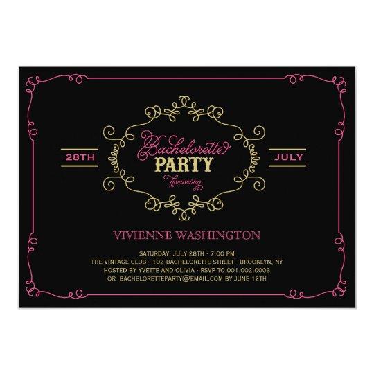 Vintage Chic Flourish Bachelorette Party Invite