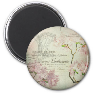 Vintage Chic French Script Shabby Flowers Corset 2 Inch Round Magnet