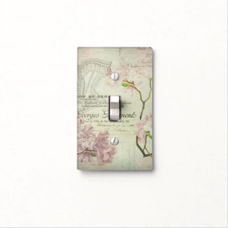 Vintage Chic French Script Shabby Flowers Corset Light Switch Plate