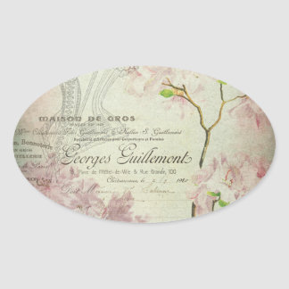 Vintage Chic French Script Shabby Flowers Corset Oval Sticker
