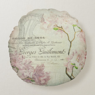 Vintage Chic French Script Shabby Flowers Corset Round Pillow