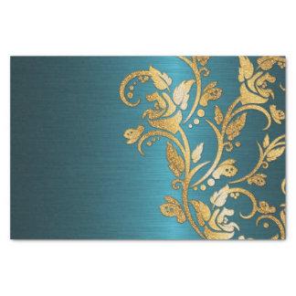 "Vintage Chic Gold Aqua Floral Glitter Photo Print 10"" X 15"" Tissue Paper"