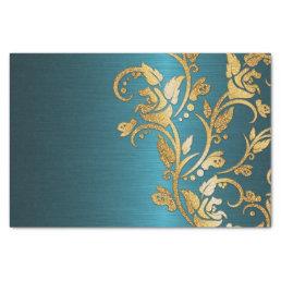 Vintage Chic Gold Aqua Floral Glitter Photo Print Tissue Paper