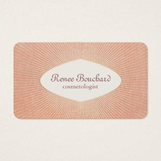 Vintage Chic Gold Sunburst Salmon Pink Cosmetology Business Card