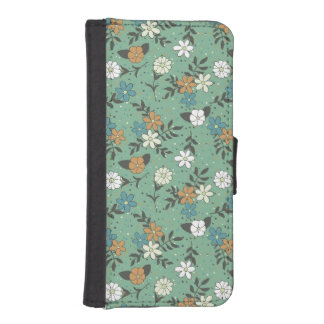 Vintage Chic Green Daisy Floral Pattern Wallet Phone Case For iPhone SE/5/5s