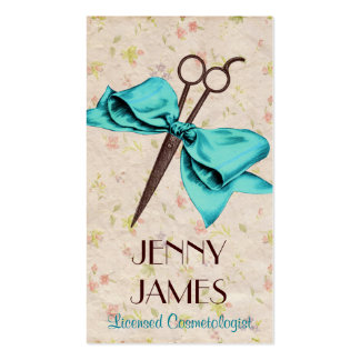 vintage chic hair stylist blue bow floral shears pack of standard business cards