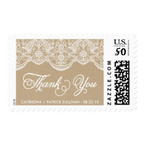 Vintage Chic Lace Wedding Thank You Sticker Postage