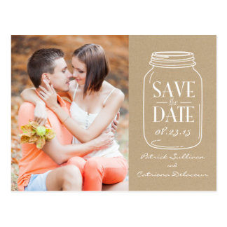 Vintage Chic Mason Jar Save the Date Postcard