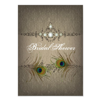 Vintage chic peacock Bridal Shower invitation