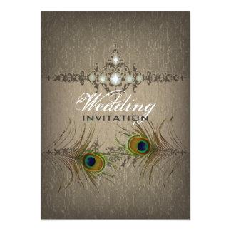 Vintage chic peacock wedding invitation