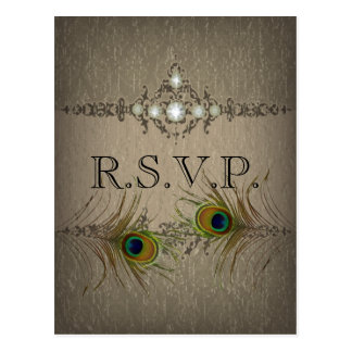 Vintage chic peacock wedding RSVP invitation Postcard