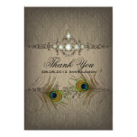 Vintage chic peacock wedding Thank you Card