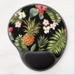 "Vintage Chic Pinapple Tropical Hibiscus Floral Gel Mouse Pad<br><div class=""desc"">A stunningly beautiful chic vintage pineapple tropical hibiscus flowers set on a stylish black floral flower pattern feminine girly gel mousepad</div>"
