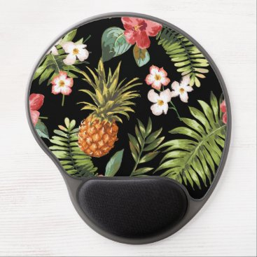 celebrateitgifts Vintage Chic Pinapple Tropical Hibiscus Floral Gel Mouse Pad