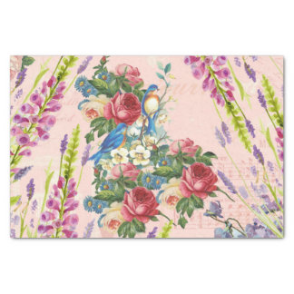 "Vintage chic pink blue birds floral pattern 10"" x 15"" tissue paper"