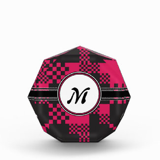 Vintage Chic Pink Cubes Monogram Pattern Acrylic Award