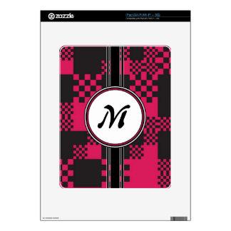 Vintage Chic Pink Cubes Monogram Pattern iPad Decal
