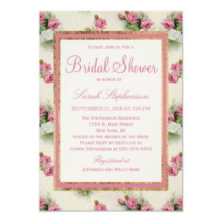 Vintage Chic Pink Floral Bridal Shower Invitations