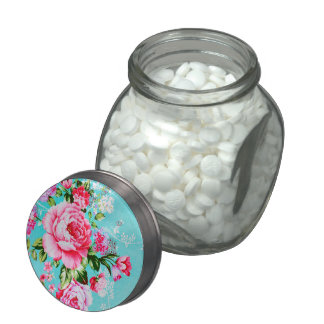 Vintage Chic Pink Floral Candy Jar Glass Jars