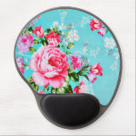 "Vintage Chic Pink Floral Gel Mouse Pad<br><div class=""desc"">A stunningly beautiful shabby chic vintage vivid bold  lilac &amp; pink spring flowers set on a stylish turquoise blue background floral flower pattern feminine girly gel mousepad</div>"