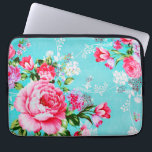 "Vintage Chic Pink Floral Laptop Sleeve<br><div class=""desc"">A stunningly beautiful shabby chic vintage vivid bold lilac &amp; pink spring flowers set on a stylish turquoise blue background floral flower pattern feminine girly girly laptop sleeve. Protect your computer laptop with our custom stylish sleeves. Sizes available for 10 inch, 13-14 inch, and 15-17 inch laptops. Our lightweight and...</div>"