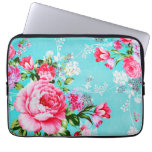 Vintage Chic Pink Floral Laptop Sleeve<br><div class='desc'>A stunningly beautiful shabby chic vintage vivid bold lilac &amp; pink spring flowers set on a stylish turquoise blue background floral flower pattern feminine girly girly laptop sleeve. Protect your computer laptop with our custom stylish sleeves. Sizes available for 10 inch, 13-14 inch, and 15-17 inch laptops. Our lightweight and...</div>