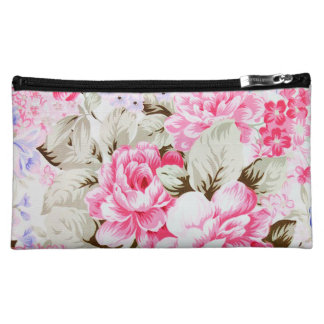 Vintage Chic Pink Flowers Floral Cosmetics Bags