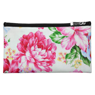 Vintage Chic Pink Flowers Floral Cosmetic Bags