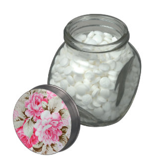 Vintage Chic Pink Flowers Floral Candy Jar Jelly Belly Candy Jars