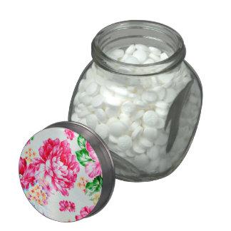 Vintage Chic Pink Flowers Floral Candy Jar Glass Candy Jar