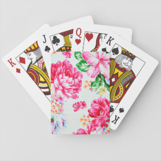 Vintage Chic Pink Flowers Floral Deck Of Cards