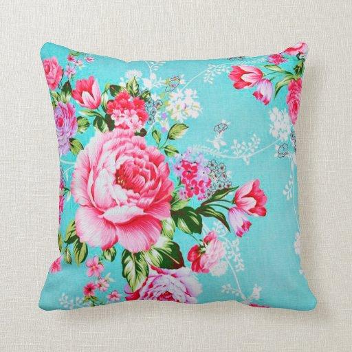 Pink Floral Decorative Pillows : Vintage Chic Pink Flowers Floral Decorative Pillow Zazzle