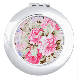 Vintage Chic Pink Flowers Floral Makeup Mirror