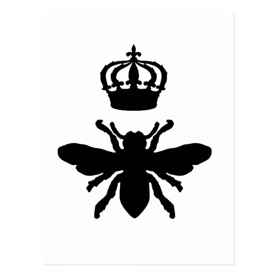 Vintage Chic Queen Bee Silhouette Postcard