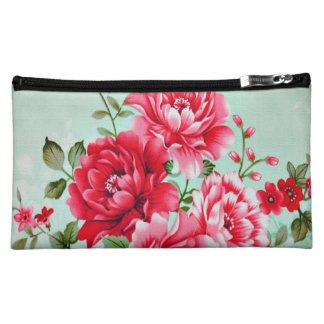 Vintage Chic Red Pink Floral Makeup Bags