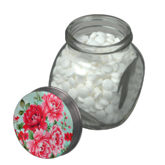 Vintage Chic Red Pink Floral Candy Jar Jelly Belly Candy Jar