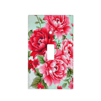 Vintage Chic Red Pink Floral Light Switch Cover