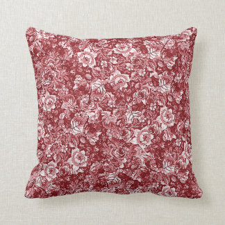 Vintage Chic Red White Classy Toile Floral Pattern Throw Pillow