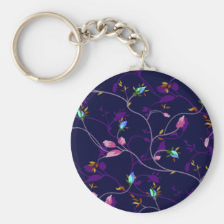 Vintage Chic Small Rosebuds Pattern Keychains