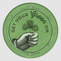 Vintage chic St. Patrick's Day Get your green on Classic Round Sticker