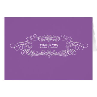 Vintage Chic Thank You Card in Purple