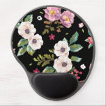 """Vintage Chic Tropical Hibiscus Floral Gel Mouse Pad<br><div class=""""desc"""">A stunningly beautiful chic vintage tropical hibiscus flowers set on a stylish black floral flower pattern feminine girly gel mousepad</div>"""