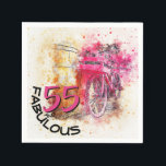 "Vintage Chic Watercolor Pink Bicycle 55th Birthday Napkin<br><div class=""desc"">This text design features a &quot;55 and Fabulous&quot; watercolor and typography. This &quot;55 and Fabulous&quot; watercolor design features a magenta splash with a bicycle and a basket on the handlebars leaning against a barrel. The artwork is the napkin background and all the birthday typography is on the lower left.</div>"