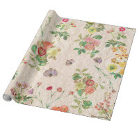 Vintage chic yellow pink cute floral pattern wrapping paper