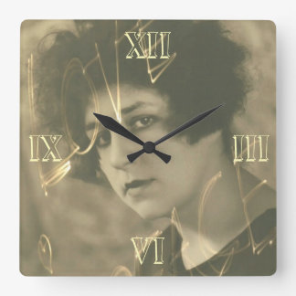 Vintage chic young lady portrait square wall clock