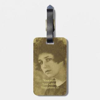 Vintage chic young woman portrait bag tag